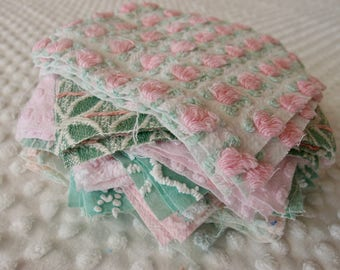 Vintage Chenille Fabric Quilt Squares - 30 - 6 inch squares, green, pink & white, - 500-139