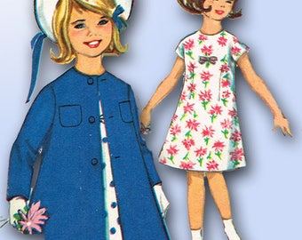 1960s Vintage Simplicity Sewing Pattern 5372 Little Girls Dress and Coat Size 7