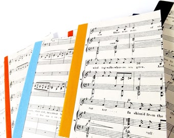A5 Recycled Paper Vintage Sheet Music Notebooks, Upcycled Journals  - Various Colours Available