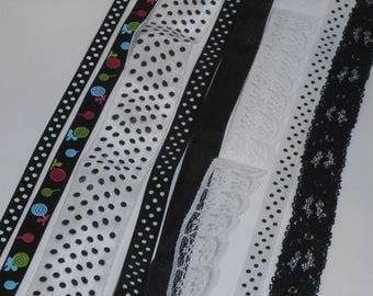 4 mètres de rubans blanc et noir LOT G mixé 8 différents