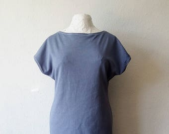Tshirt dress hemp cornflower blue mauve summer festival boho gaia hand dyed earth eco minimalist tunic hippie organic bohemian gypsy clothes