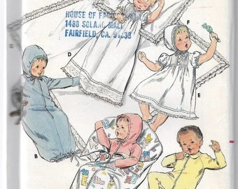 Uncut, Baby Layette, Sewing Pattern, Butterick 3317, Infant boy girl, Bunting, Gown, Jumpsuit, Christening, Dress Bonnet, Hood, Hooded, Hat