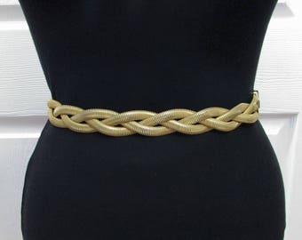 Vintage Cute Knotted Braided Gold Elastic Cinch Belt - XS S