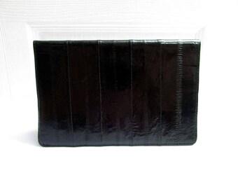 Vintage Black Genuine Eel Skin Big and Slim Bi Fold Wallet