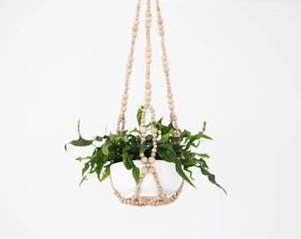 FELIX Hanging Planter .01 - Modern Plant Hanger - Wood Bead Planter