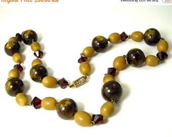 45% off Sale 1930s Vintage Necklace Art Deco Olive Green, Deep Red, and Marbled Brown Beads