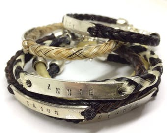 Custom Braided Horse Hair Horsehair Bracelet With Stamped Nameplate 6MM Round Braid