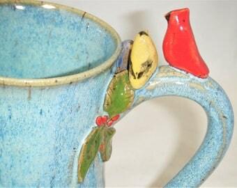Bird Mug Gold Finch Cardinal Blue Bird Cup Green Leaves Red Berries ClayDogStudio
