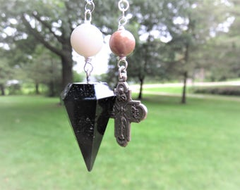 Black Tourmaline Pendulum, Moonstone, Sunstone, Sterling Chain, Made during the Eclipse
