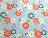 Kids Knit Fabric - Riley Blake Knit Cotton Lycra Fabric - Blue Daisy Knit Fabric -  Floral Cotton Spandex