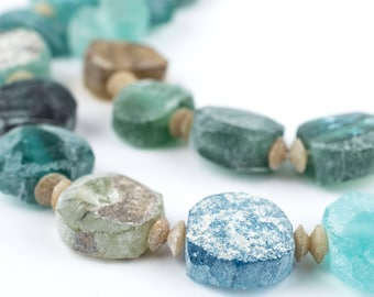 22 Circular Ancient Roman Glass Beads - Circular Glass Beads - Roman Glass Necklace - Ancient Glass Beads - Hard to Find (AFG-TAB-BLU-244)
