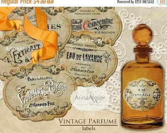 SALE - 30%OFF - Vintage Parfume LABELS - Digital Printables - collage sheet - collage tags - vintage images - french parfume tags - gift tag