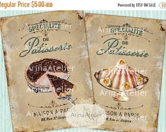 SALE 30%OFF - CARDS Vintage French Patisserie - Large Images - Background - to print on images - Digital Collage Sheet - Digital Sweets Tags