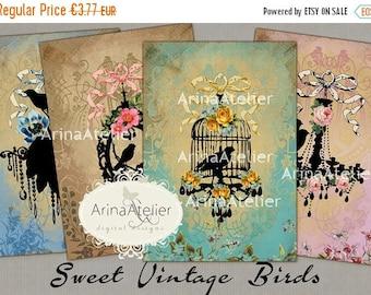 SALE 40% OFF - CARDS Sweet Vintage Birds - Digital Collage Sheet - Instant Download - Vintage Collage - Digital Collage Tags - greeting card