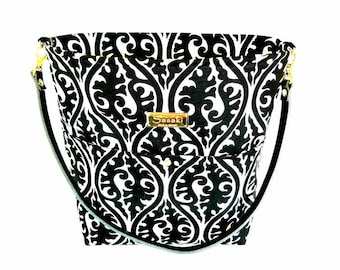 Black and White Shoulder Bag with Leather Strap - 8 pockets