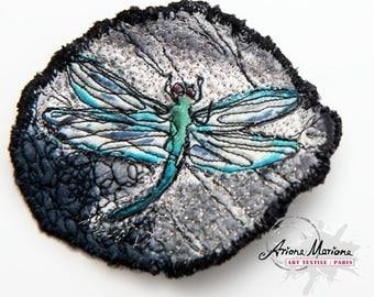 Dragonfly Textile Art Pin