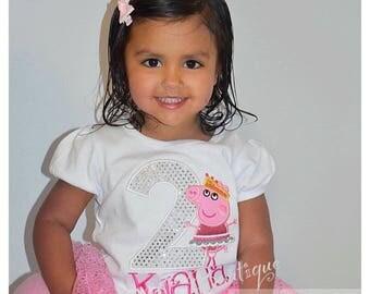Peppa Pig Birthday Shirt-  Pig birthday shirt -  Girl Pig birthday shirt -Personalized Pig Shirt Number -  Ballerina Girl Pig Birthday Shirt