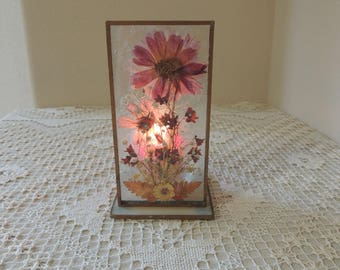 Pressed Flowers Between Leaded Glass Votive Candle Holder. Romantic Floral Candle Holder. Tea Light Candle Holder. Romantic Candlelight.