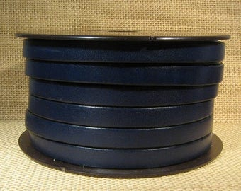 Summer Sale - 25% off 10mm Flat Leather - Navy Blue - 10F-18 - Choose Your Length
