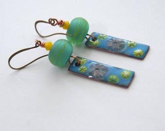 SALE Floral Earrings, Mint Green Earrings, Sky Blue Earrings, Enamel Earrings, Lampwork Glass Earrings, Dangling Earrings, Striped Earrings