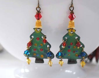 Christmas Tree Earrings, Artisan Enamel Earrings, Festive Earrings, Holiday Earrings, Tree Earrings, Green Earrings, Decorated Xmas Tree