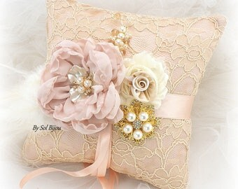 Wedding Ring Pillow,Champagne,Gold, Blush, Rose,Rose Gold,Ivory,Feather Pillow,Lace Ring Pillow,Vintage Wedding,Gatsby,Elegant,Brooch,Pearls