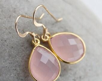 ON SALE Simple Pink Chalcedony Teardrop Earrings - Gemstone Earrings - Bridesmaids, Winter Weddings
