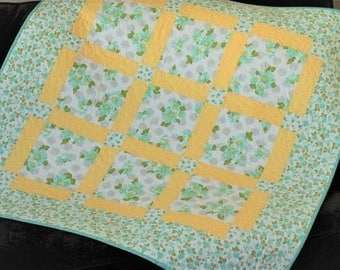 Baby Girl Quilt in Aqua Yellow and Gray with Daisies, Modern Girl Baby Quilt, Nap Mat Blanket, Blue and Yellow Baby Quilt, Free US Shipping