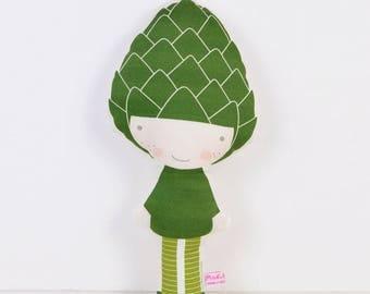 Artichoke cloth doll in deep green