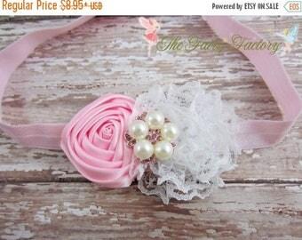 Pink and White Flower Headband, Pink Satin & Lace Flower Headband, Newborn Headband, Baby Hair Clip, Infant Toddler Child Girls Headband