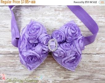 Lavender Hair Bow, Satin Rosette Hair Bow w/ Crystal Center Headband or Hair Clip, The Virginia, Infant Baby Toddler Child Girls Headband