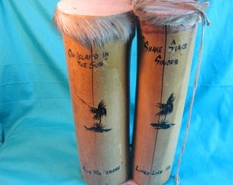 Antique Jamaica Island Limbo Drums, Shake Shake Sandra Duo Set Bamboo Drums, Hand Made Bamboo Drums, Bamboo Leather and Fir Drums