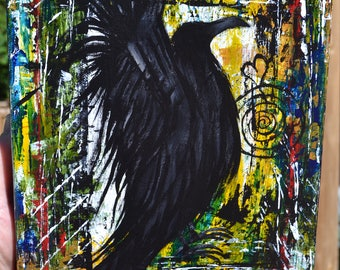 Crow/Black Bird Art, Inspirational/Unique, Original Acrylic Painting, Embrace Yourself