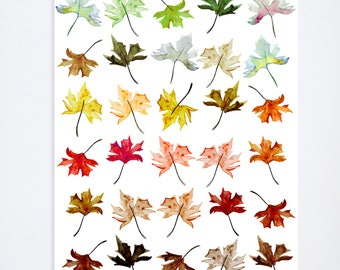 Ombre Fall Leafs - 8 x 10 - Watercolor - Illustration - Art Print