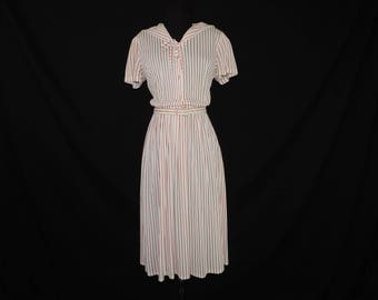 1950s red striped day dress acetate shirtwaist middy collar sailor dress medium