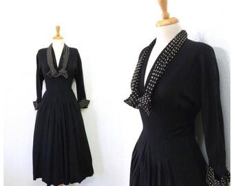 Vintage 1940s dress Black Crepe Polka dots tie 40s dress David Westheim dress