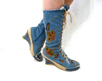 Embroidered Lace Up Boots Denim Wedges Flower Gladiator Blue Mid Calf Women size 9