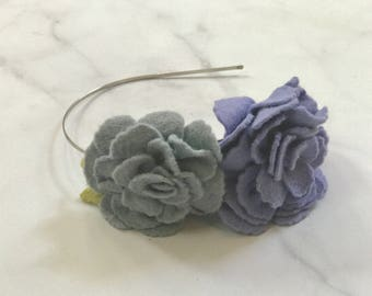 Violet and Olive Flower Headband