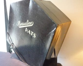 Borsalino Hat Box 1950s Brown Vintage Case - Retro Storage - cardboard  and cotton carry handle  decor prop - accent piece - good condition