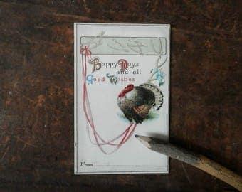 Vintage Thanksgiving Card, Holiday Postcard, Antique Greeting Card, Autumn Harvest, Turkey, Wishbone