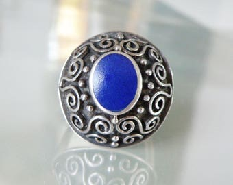 Vintage Sterling Silver 925 Ethnic Indian Inlaid Lapis Balinese Bali Scroll Bead Circle Dome Ring Size 8