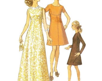 1960s A Line High Waisted Evening Dress or Short Day Dress Pattern Simplicity 8498 B36 Sz 14