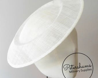 Extra Large 29cm Round Saucer / Plate Sinamay Fascinator Hat Base for Millinery - Ivory