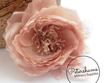 Silk 'Chloe' 11cm Rose Millinery Fascinator Flower Hat Mount - Blush