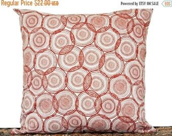 Christmas in July Sale Retro Circles Pillow Cover Cushion Rust Cinnamon Beige Mod Geometric Polka Dots Decorative 18x18