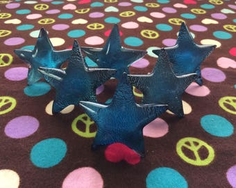 Set of Six Foiled Glass Blue Star Knobs/Pulls