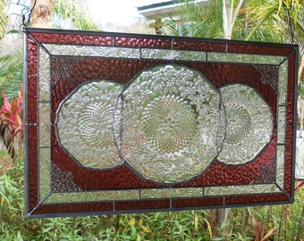 Depression Glass Pineapple and Floral Stained Glass Window, Stained Glass Plate Panel, Antique Window Valance, Vintage Glass Transom Window