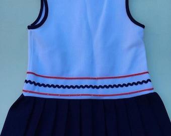 Girlsvintage mod drop-waist red/white/blue scooter dress 24m-2t