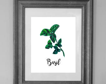 Basil Printable Sign / Herbs Kitchen / Basil Painting / Home Decor / INSTANT DOWNLOAD
