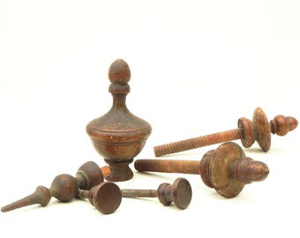 Lot of 6 Vintage Turned Wood Furniture Finials Parts Architectural Salvage